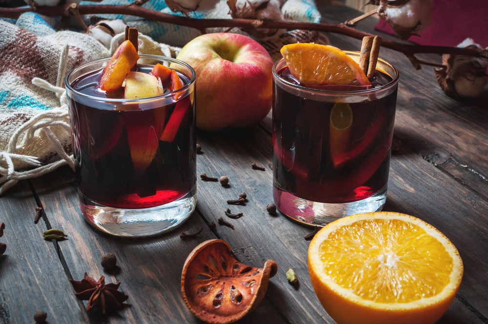 The winter drinks tea. <br> White Christmas drink mulled wine.